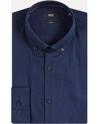BOSS - 'ismar' Slim Fit Cotton Shirt Blue - Lyst