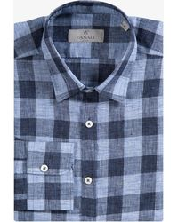 Canali - Modern Fit Luxury Linen Check Shirt Blue - Lyst