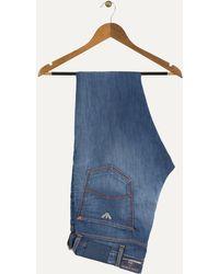 Armani Jeans - 5 Tasche Extra Slim Distressed Jeans Red/orange Stitch Detail Blue - Lyst