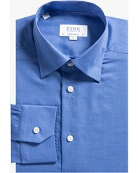 Eton of Sweden - Contemporary Fit Herringbone Flannel Shirt Blue - Lyst
