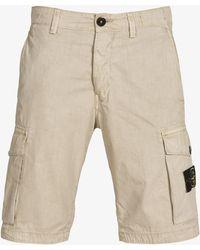 Stone Island - Garment Dyed Cargo Shorts Washed Stone - Lyst