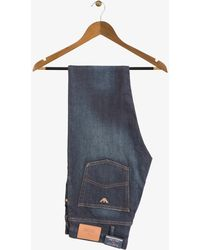 Armani Jeans - Slim Fit Dark Faded Denim Jeans With Bronze Eagle - Lyst