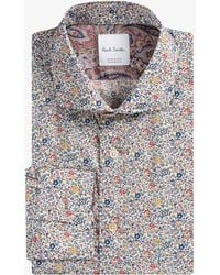 Paul Smith - 'micro Floral' Liberty Print Shirt With Paisley Cuff Lining - Lyst