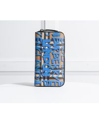 Burberry - Graffiti Print Vintage Check Ziparound Wallet Blue - Lyst