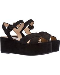 812d1c60dbfe Lyst - Prada Patent Leather Ankle-strap Wedge Sandals in Black