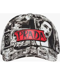 Prada - Printed Gabardine Baseball Cap - Lyst