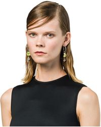 Prada - Silver Earrings With Charm - Lyst