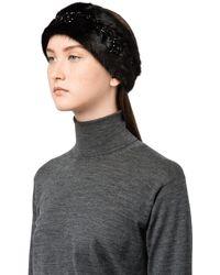 Prada - Fur Headband - Lyst