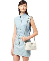 e62c1491044e Lyst - Prada Diagramme Leather Shoulder Bag in Blue