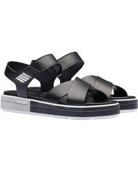 9f882bf37e0 Lyst - Prada Patent Leather Flat Sandals in Black