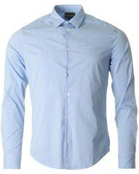 Armani - Slim Fit Gingham Checked Shirt - Lyst
