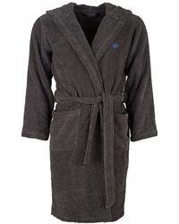 Emporio Armani - Eagle Logo Grey Hooded Robe - Lyst
