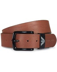 Armani Jeans - Eagle Logo Buckle Leather Belt - Lyst