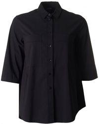 Armani - Oversized Cotton 3/4 Sleeved Shirt - Lyst