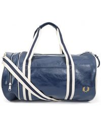 Fred Perry Fred Perry L2206 Sports Canvas Barrel Bag Bags in Blue ... fcfcfae72d025