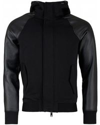 Armani - Hooded Zip Up Contrast Sleeve Jacket - Lyst