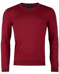 BOSS - Baram 1 V Neck Wool Knit - Lyst