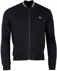 Fred Perry - Bomber Neck Zip Through Sweat - Lyst