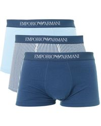 Emporio Armani - Three Pack Striped And Plain Boxers - Lyst