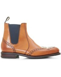 Loake | Calf Brogue Chelsea Boots | Lyst