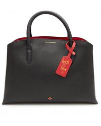 Lulu Guinness Emma Black & Classic Red Grainy Leather Work Bag