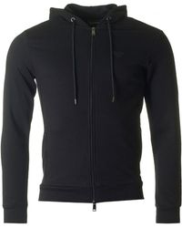 Armani - Zip Through Logo Hooded Top - Lyst