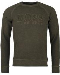 BOSS by Hugo Boss - Wayman Towelling Logo Crew Neck Sweat - Lyst