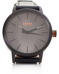 BOSS Orange - Copenhagen Black Leather Strap Black - Lyst