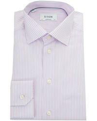 Eton of Sweden - Brighton Poplin Fine Stripe Shirt - Lyst
