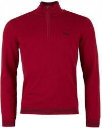 BOSS Athleisure - Zimex Quarter Zip Cotton Knit - Lyst