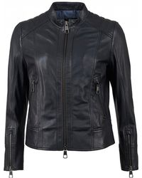 BOSS Jafable Zip Detail Leather Jacket