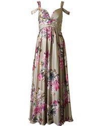 Forever Unique - Satin Floral Long Dress - Lyst