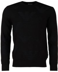 Armani - All Over Logo Eagle Crew Knit - Lyst