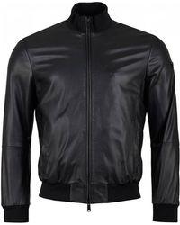 Armani Eco Leather Bomber Jacket - Black