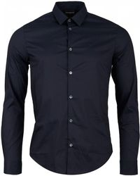 Armani - Slim Cotton Poplin Long Sleeved Shirt - Lyst