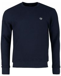 Fred Perry - Waffle Crew Neck Sweat - Lyst