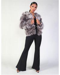 bdc238ddd9e0 Public Desire - Luxe Bubble Faux Fur Jacket Dark Grey - Lyst