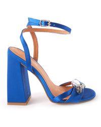 294ed80bed5 Public Desire - Harrow Wrap Around Strappy Heel With Jewel Detail In Blue  Satin - Lyst