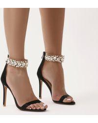 Public Desire - Fiji Diamante Barely There Stilettos In Black Satin - Lyst