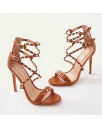 317dd3b286775 Public Desire Safari Pointed Strappy Heels In Snake - Lyst