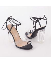 d6b85710033 Public Desire - Matcha Perspex Strappy Block Heel In Black - Lyst