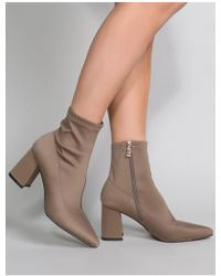 Public Desire - Grizzly Sock Fit Boots In Khaki - Lyst