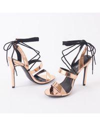 9cbeed4ff45d Public Desire Louisiana Metallic Platform Heels With Trim In Silver ...