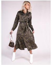 Public Desire - Khaki Leopard Print Belted Midi Shirt Dress - Lyst