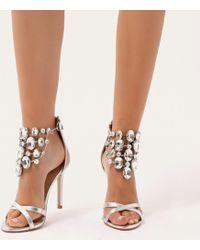 Public Desire - Valentine Cluster Embellished Stilettos In Silver - Lyst