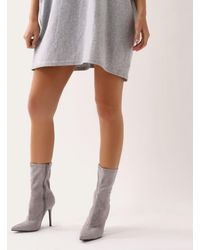 Public Desire - Direct Pointy Sock Boots In Grey Faux Suede - Lyst