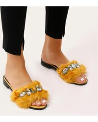 Public Desire - Julee Embellished Faux Fur Slider In Yellow - Lyst