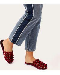 Public Desire - Pearla Pom Pom Backless Loafers In Burgundy Velvet - Lyst