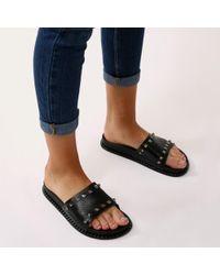 Public Desire - Azura Studded Sliders In Black - Lyst