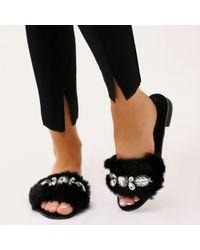 Public Desire - Julee Embellished Faux Fur Slider In Black - Lyst
